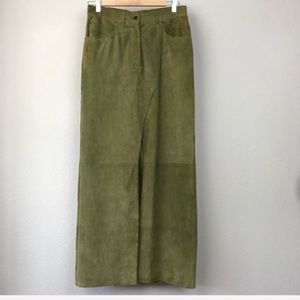 Vintage John Galliano Green Suede Leather Skirt